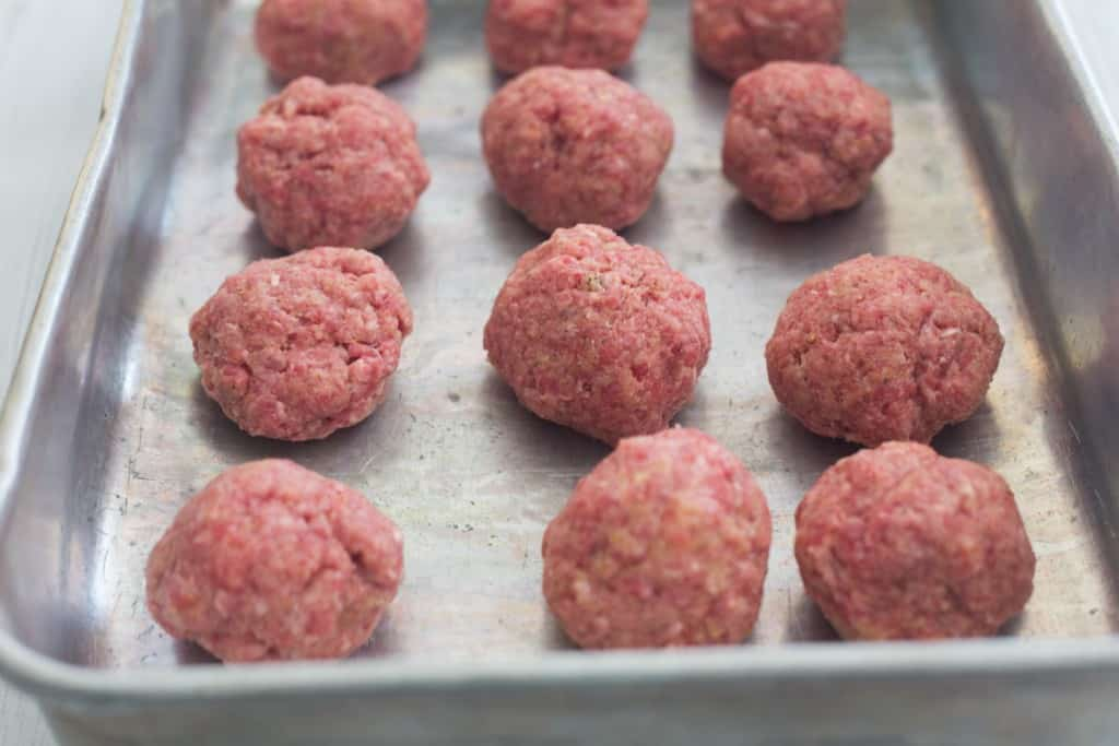 raw, formed meatballs