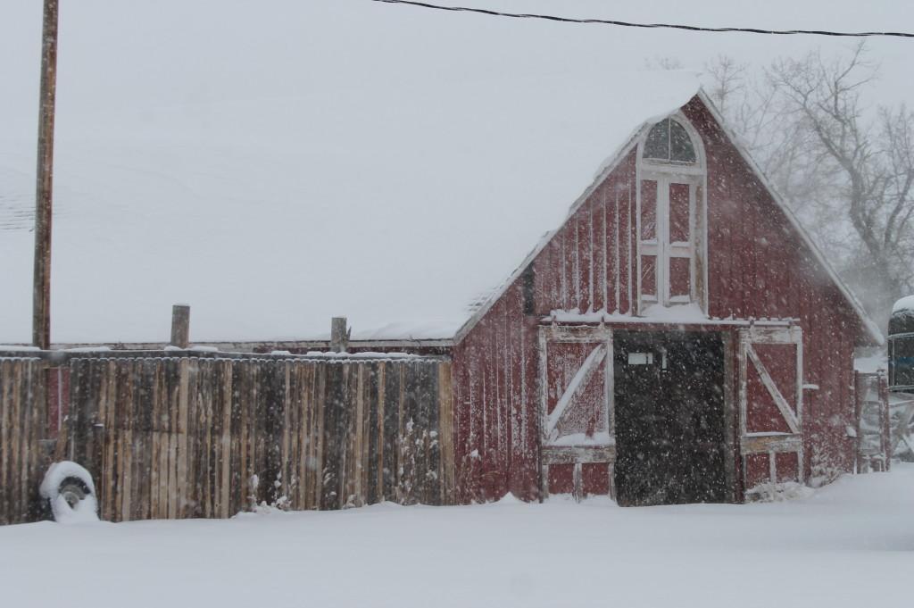 snowy ranch barn