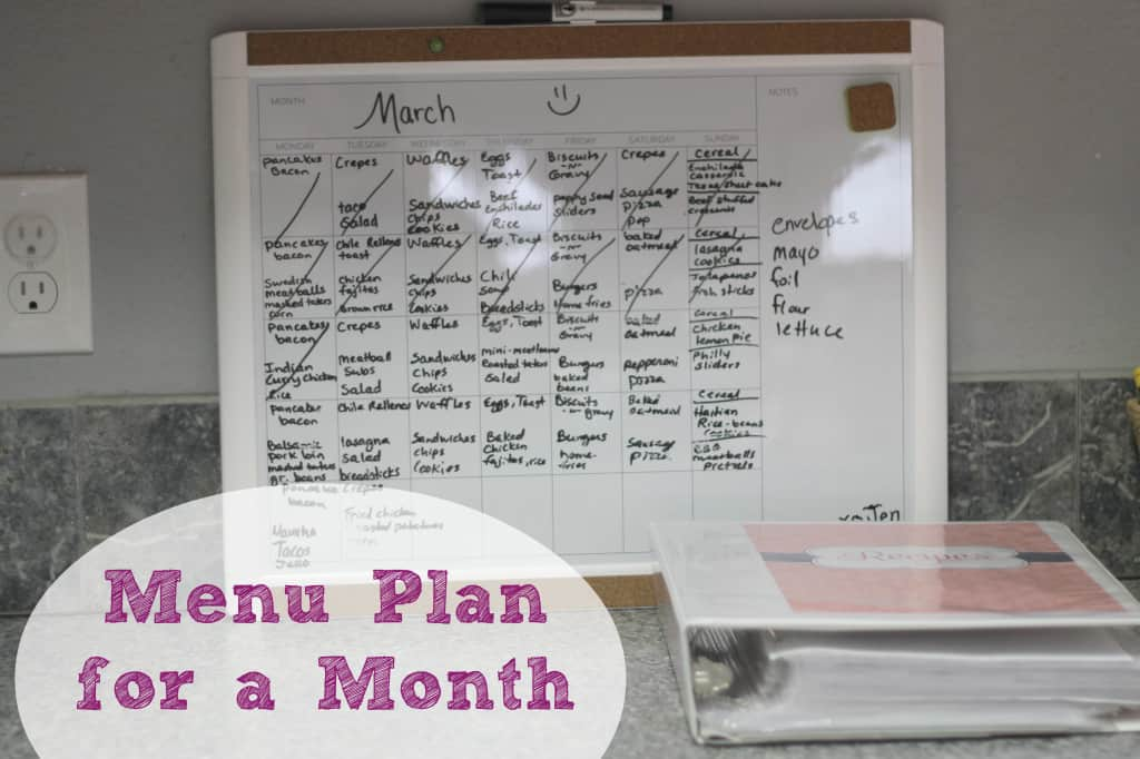 menu plan part two