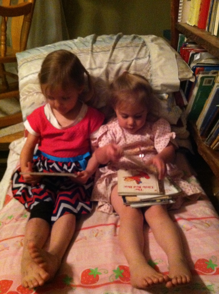 Reading with her cousin.