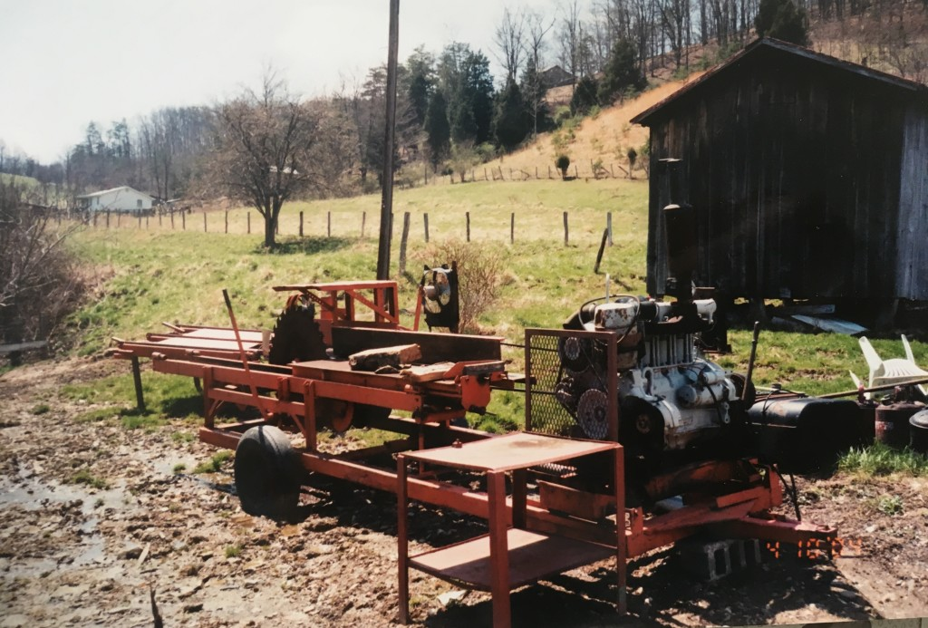 My dad's small portable sawmill where I spent many hours stacking lumber.