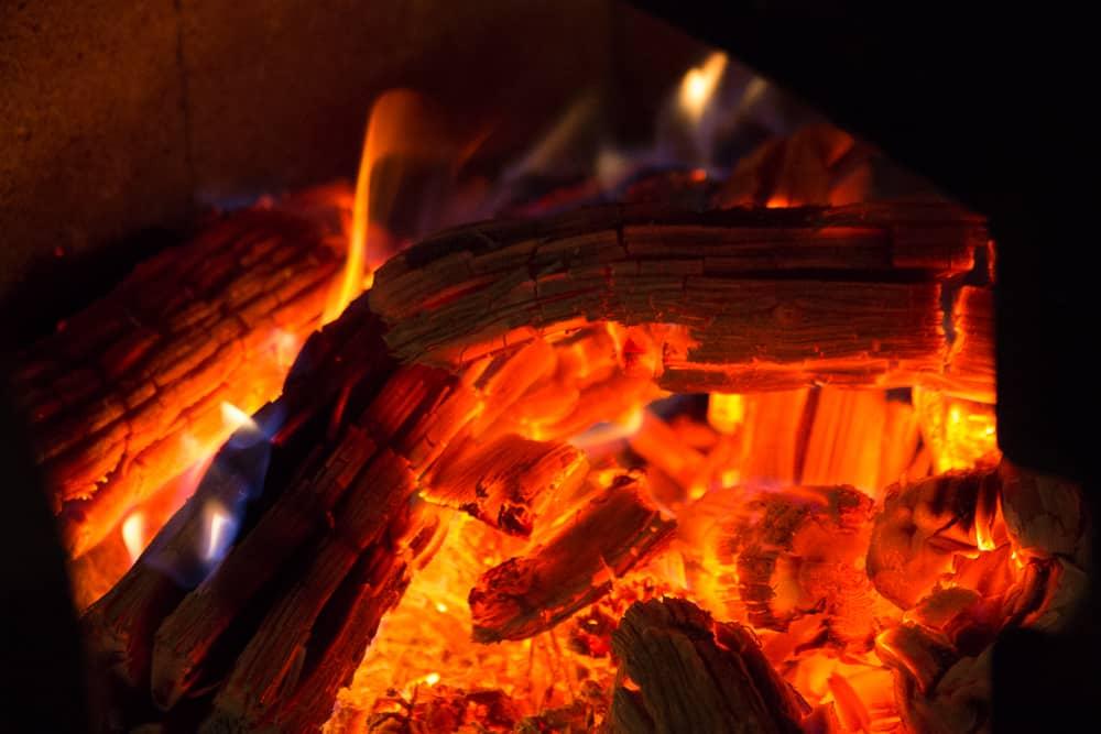 Hot coals in a wood stove