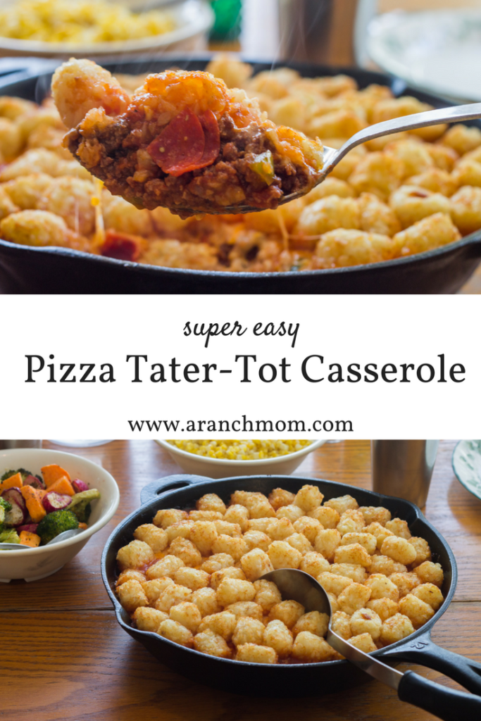 Pizza tater tot casserole recipe. Easy, simple, good recipe for teens and kids to make!