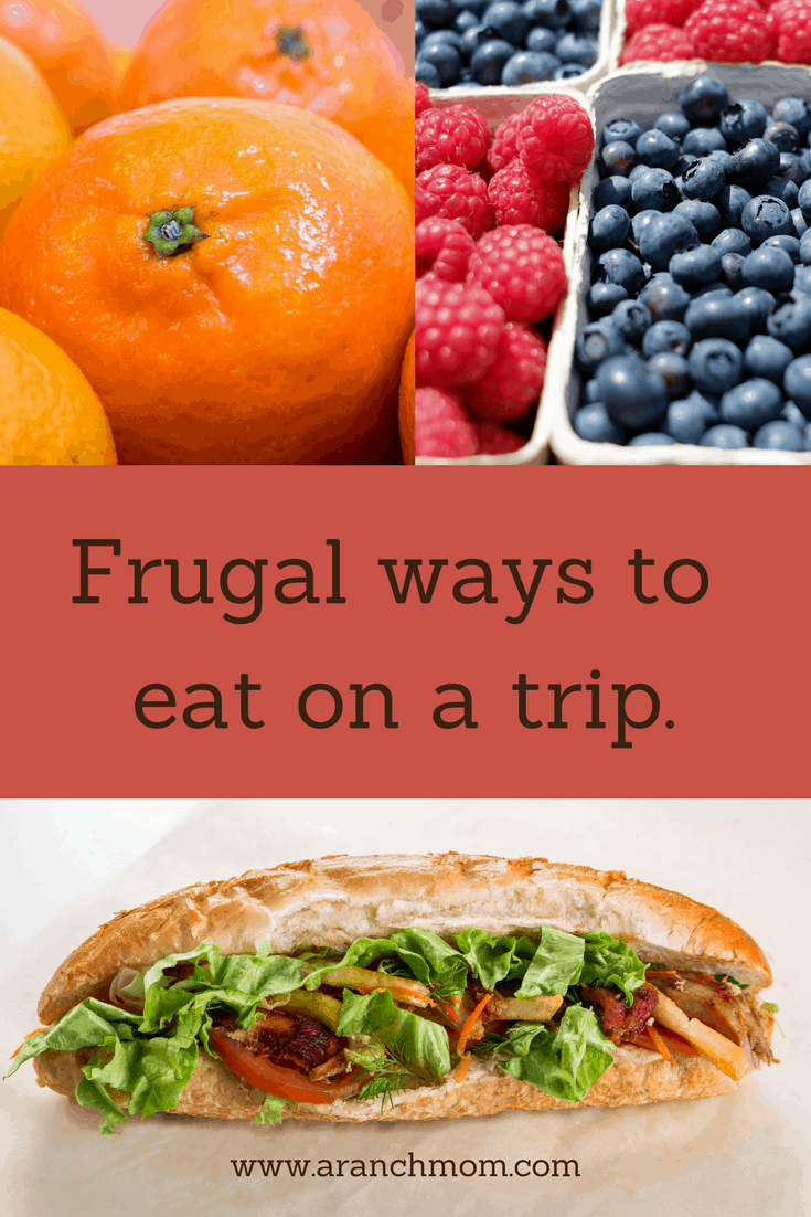 Frugal ways to eat on a trip. Healthy snacks for road trips. Berries, sandwich.