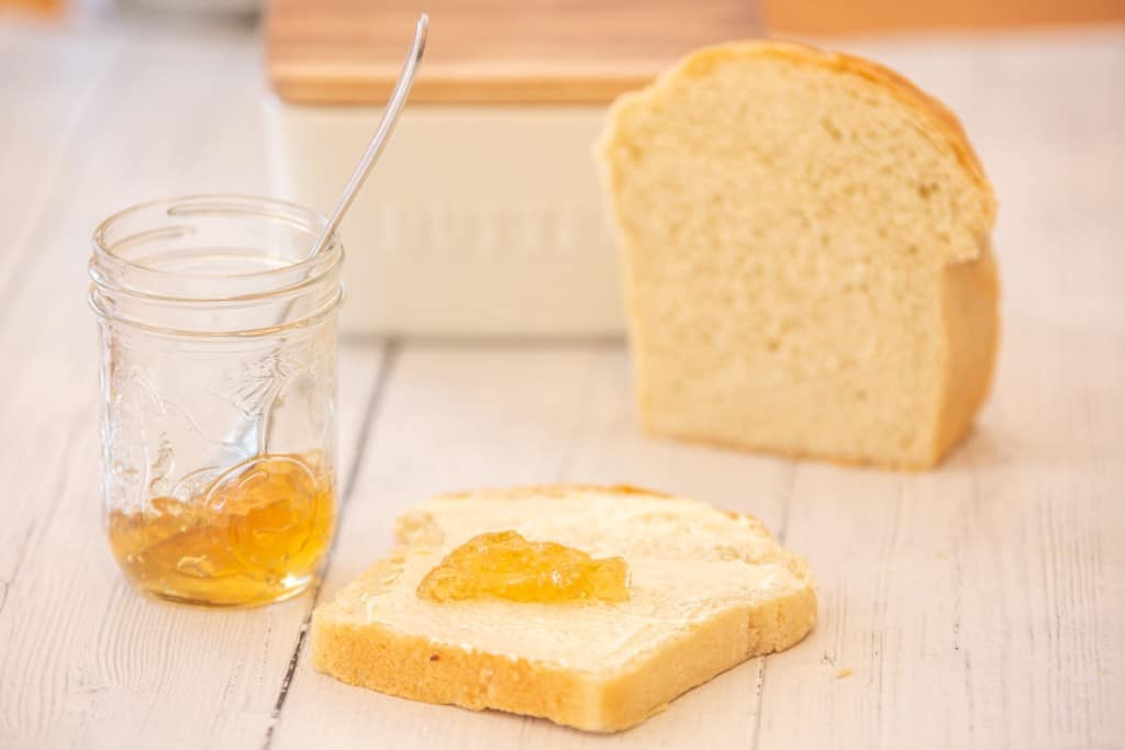 dandelion jelly on a piece of bread