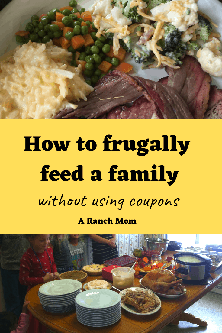 How to frugally feed a family of 6 without using coupons! Learn my tips on feeding a large family. #budget #menu #moneysavingtips #budgettips #savemoney