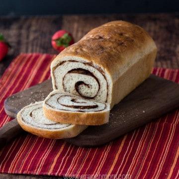 cinnamon bread on bread board
