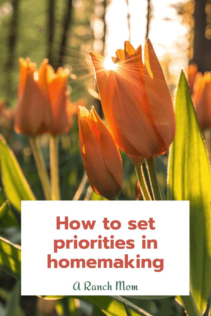 How to set your priorities in homemaking. #mom #motherhood #christianmom