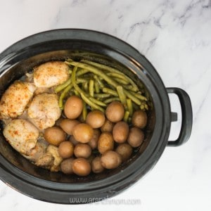chicken, potatoes, and green beans in crockpot