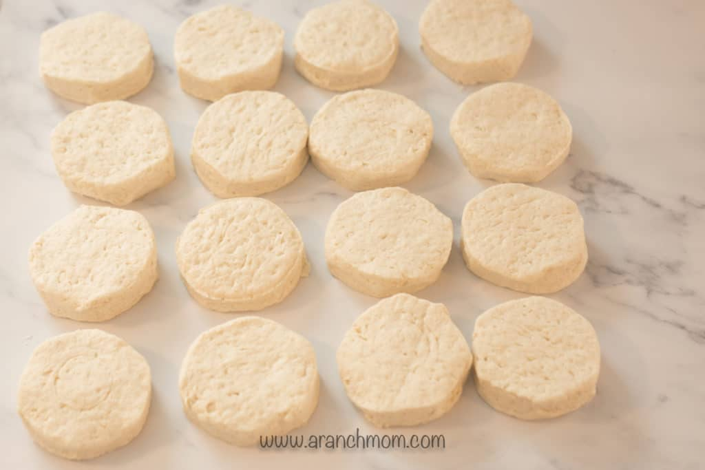 refrigerated biscuits lying on counter