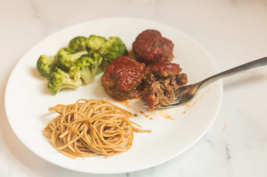 plate of food, including meatballs