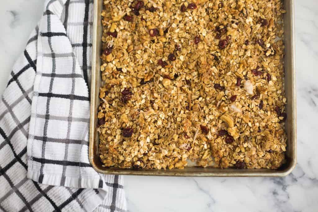 baking pan full of granola