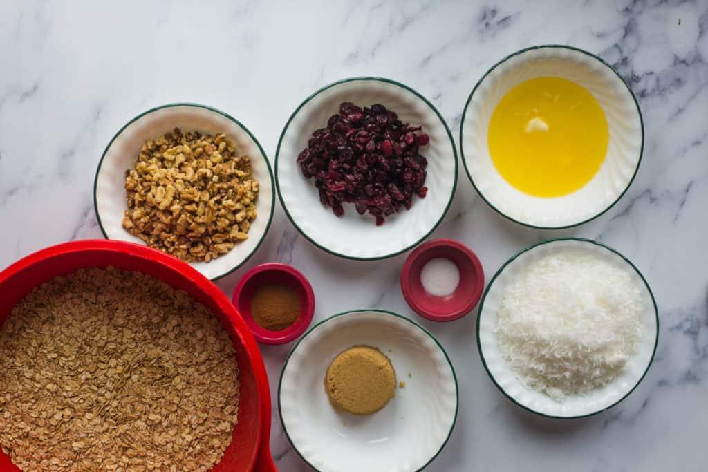 bowls of granola ingredients