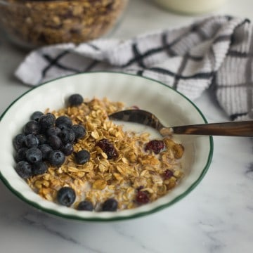 bowl of granola with milk and berries