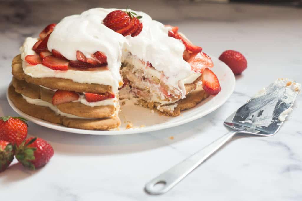 strawberry shortbread dessert stack