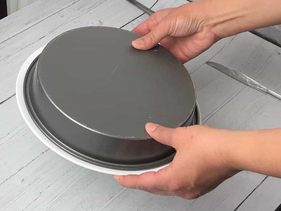 flipping sticky bun pan over