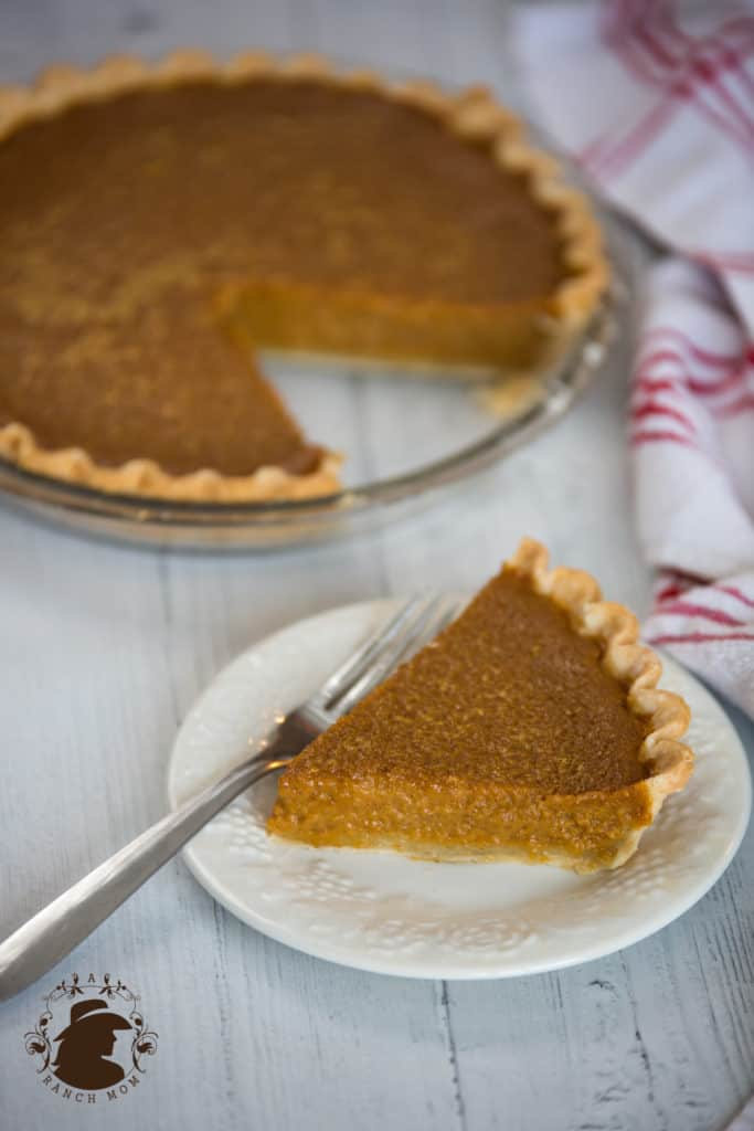 Pumpkin pie with one piece cut out