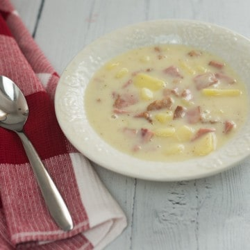bowl of ready to eat ham and potato soup