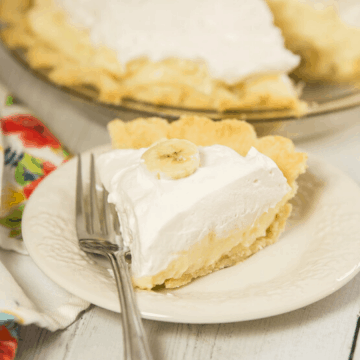 slice of banana cream pie on small plate