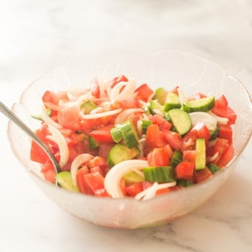 bowl of tomato & cucumber salad