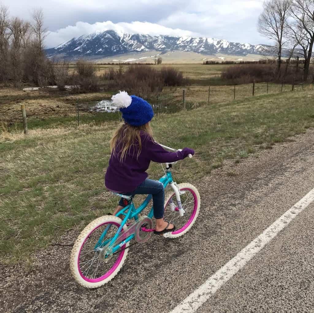 Small girl riding a bike