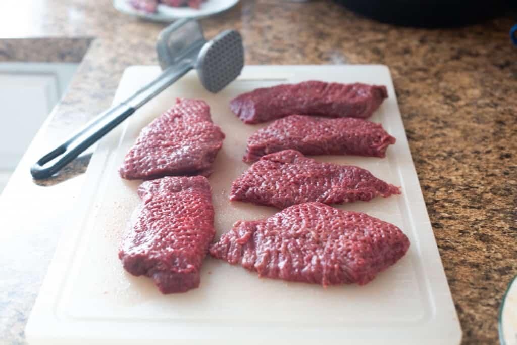 deer steak and tenderizer mallet