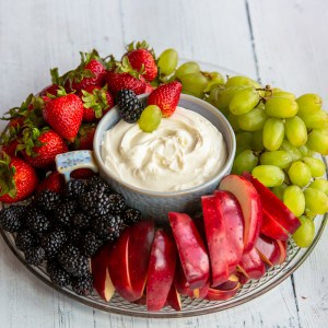 platter of fruit with fruit dip