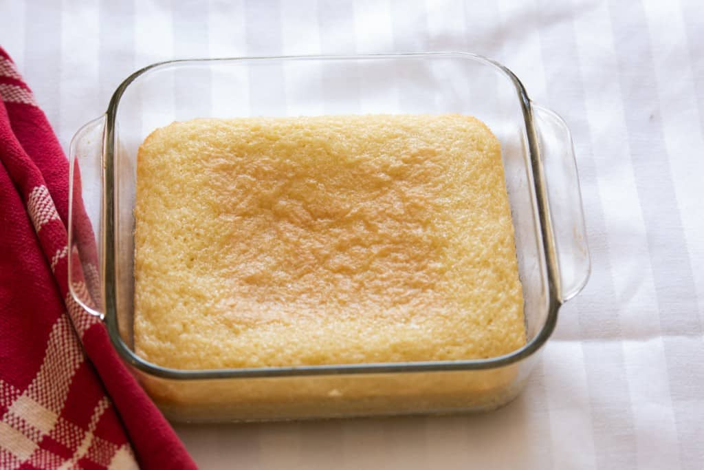 square pound cake in glass pan