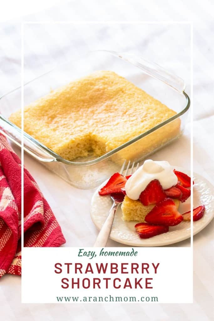pinterest image - pound cake with strawberries and whipped cream