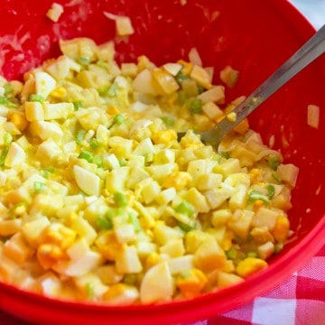 potato salad in red bowl