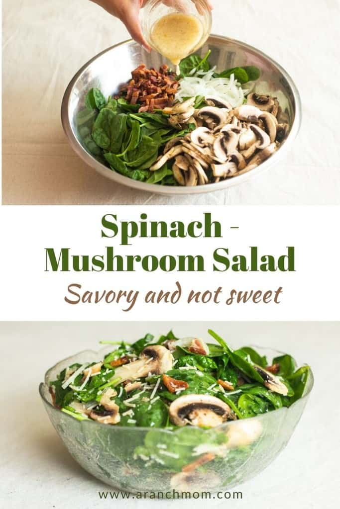 pinterest image with spinach salad and dressing