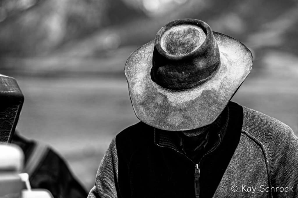 cowboy hat in black and white