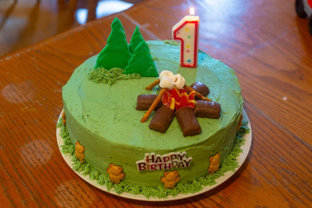 camping birthday cake with number one candle