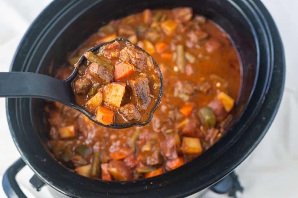 Crockpot full of cooked elk stew..
