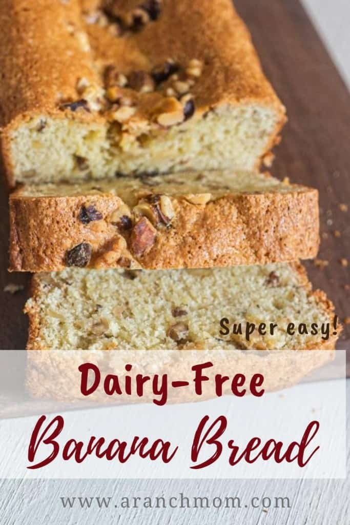 Pinterest image for dairy free banana bread