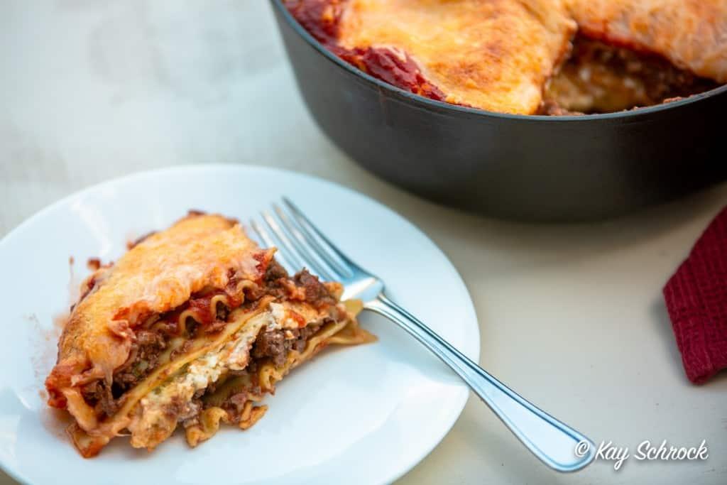 plate of elk lasagna