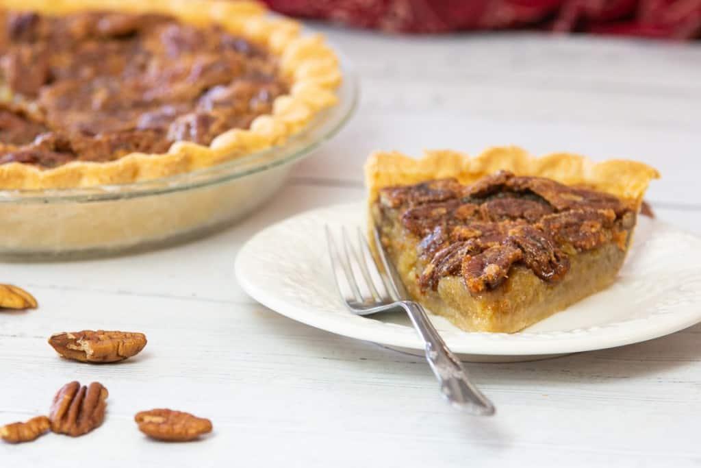 pecan pie slice on plate