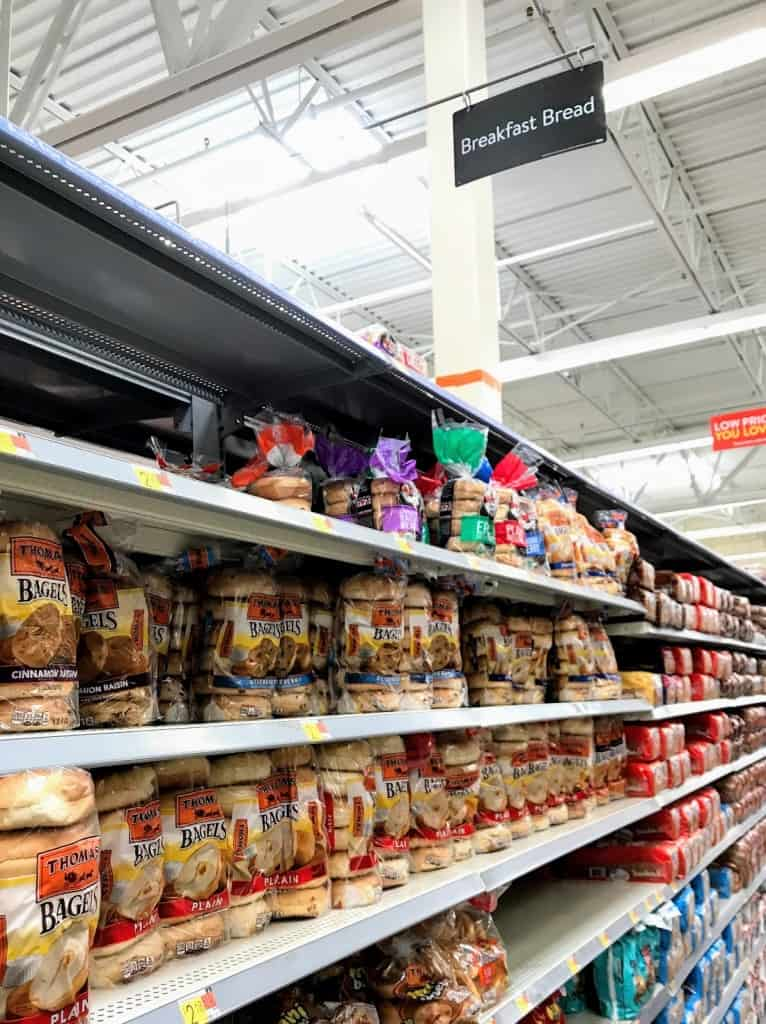 Walmart bread aisle with bagels