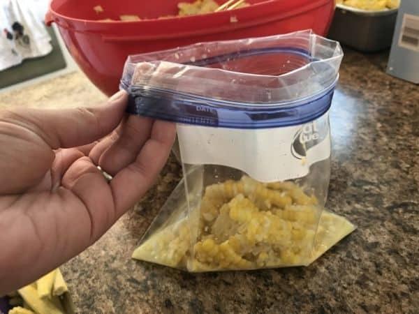 flip top of ziplock bag over before filling