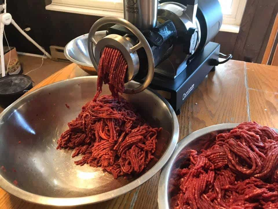 meat grinder with raw antelope meat