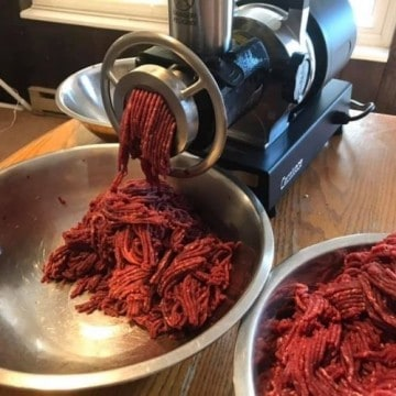raw meat in meat grinder