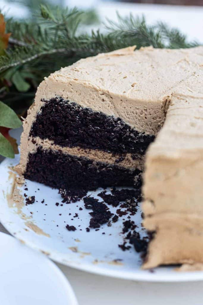 coffee buttercream on chocolate cake