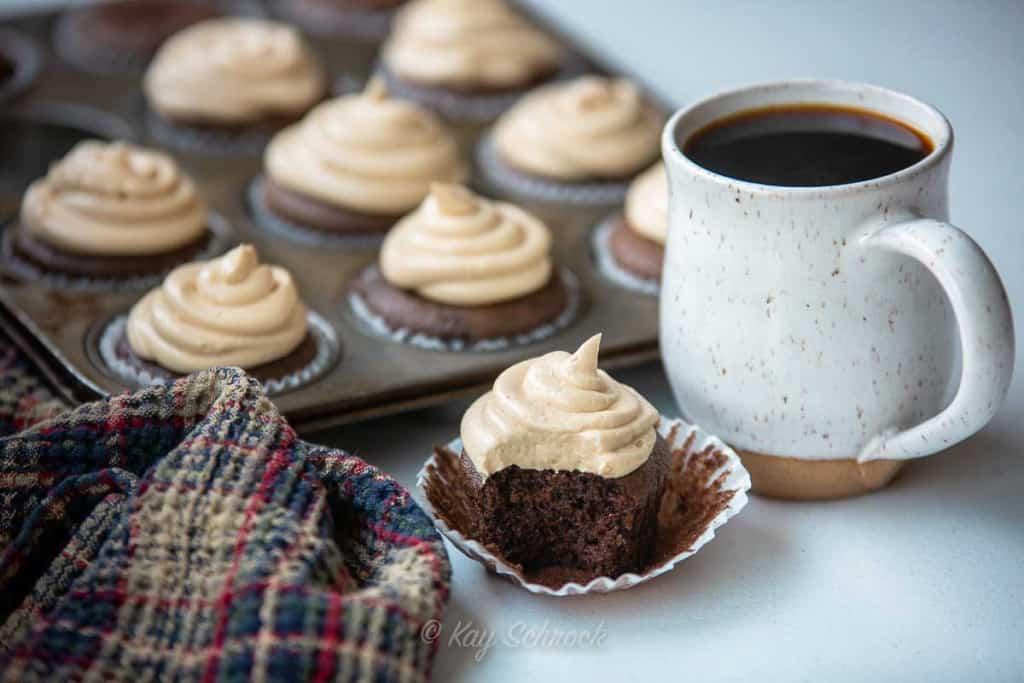 Chocolate Peanut butter cupcakes and coffee mug