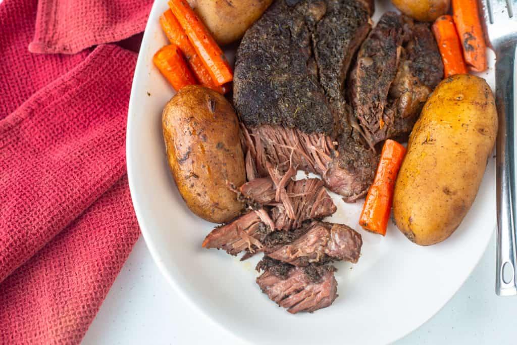 beef roast on platter