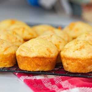 banana carrot muffins on cooling rack