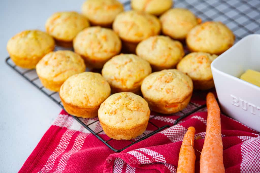 banana carrot muffins on cooling wire rack