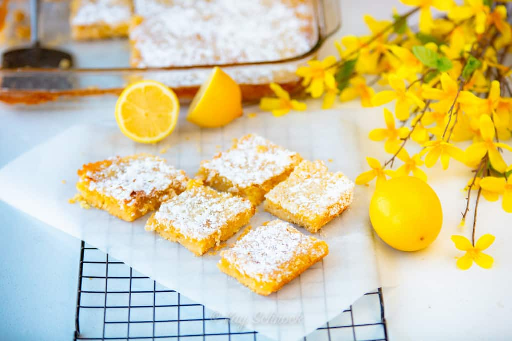 old fashioned lemon bars cut into squares with lemons