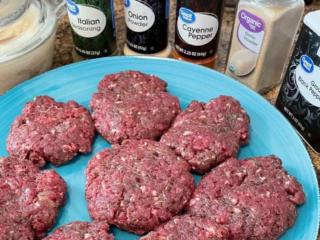 venison breakfast sausage raw patties on plate