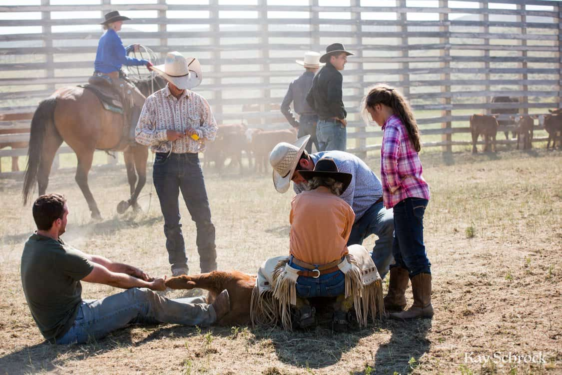 ranch woman helping at a branding, while young girl watches