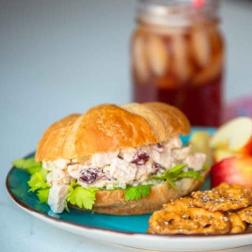 Cranberry Chicken Salad on a croissant roll